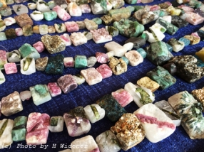 Rough beads with tourmaline.