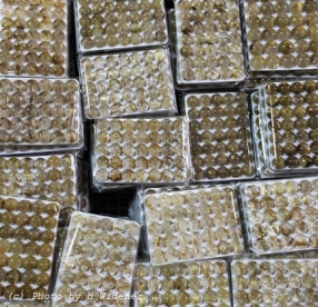 Calibrated rutilizted quartz cabochons from China.