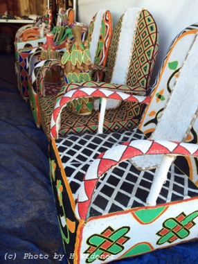 Beaded chairs at the African Art Village.